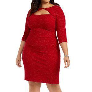 Alex Evenings Red Glitter Cut-Out Dress sz 20W NWT